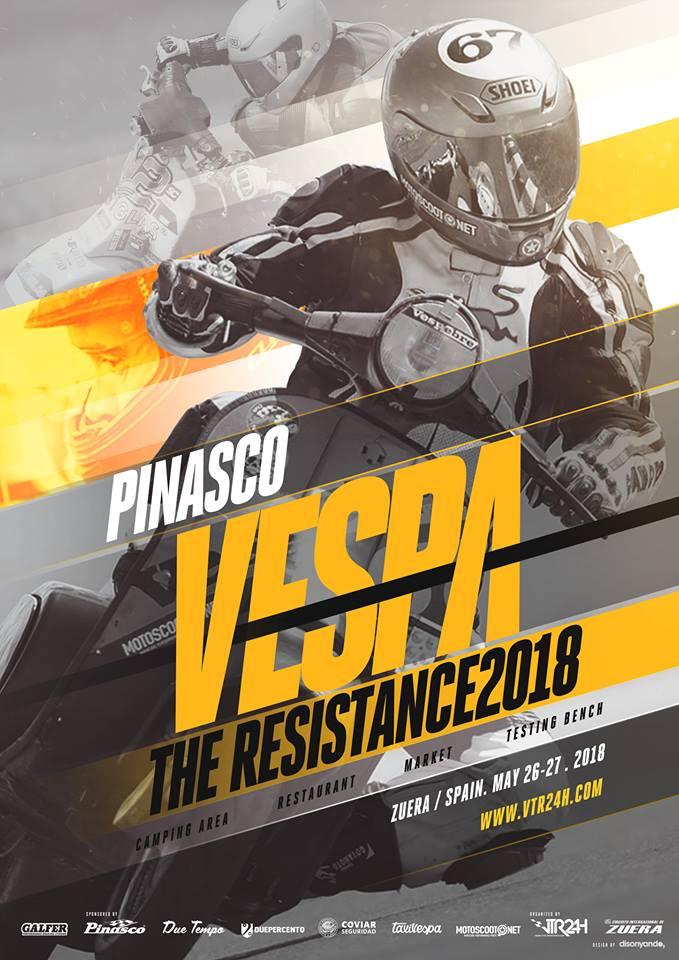 Cartel resistencia 24h Vespa 2018 En el circuito internacional de Zuera